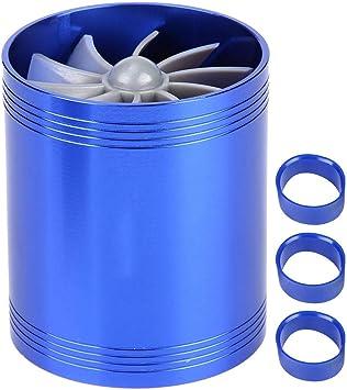 "Auto 2.5/"" Tornado Turbonator Intake Dual Fan Gas Fuel Saver Supercharger Blue"