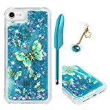 iPhone 6 Case, iPhone 6S Case, Glitter Liquid Case Cover Quicksand Bling Sparkle Flowing Love Heart Slim Thin Shockproof Waterproof Soft TPU Bumper Protector for Girls ZSTVIVABlue Gold Butterfly