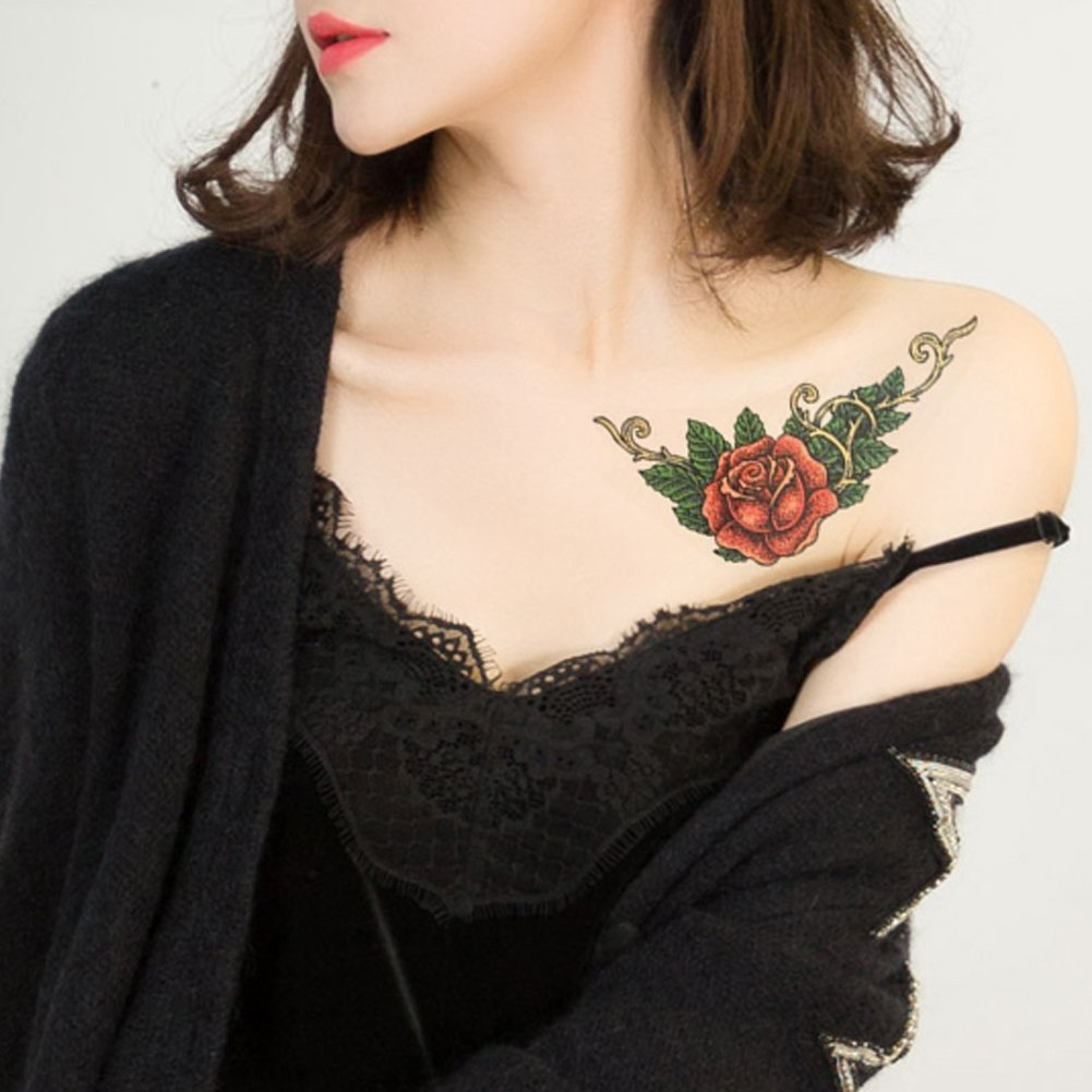 TAFLY Rose Flower Vine Temporary Tattoos Waterproof Fake Body Art Tattoos Sticker for Women 2 Sheets