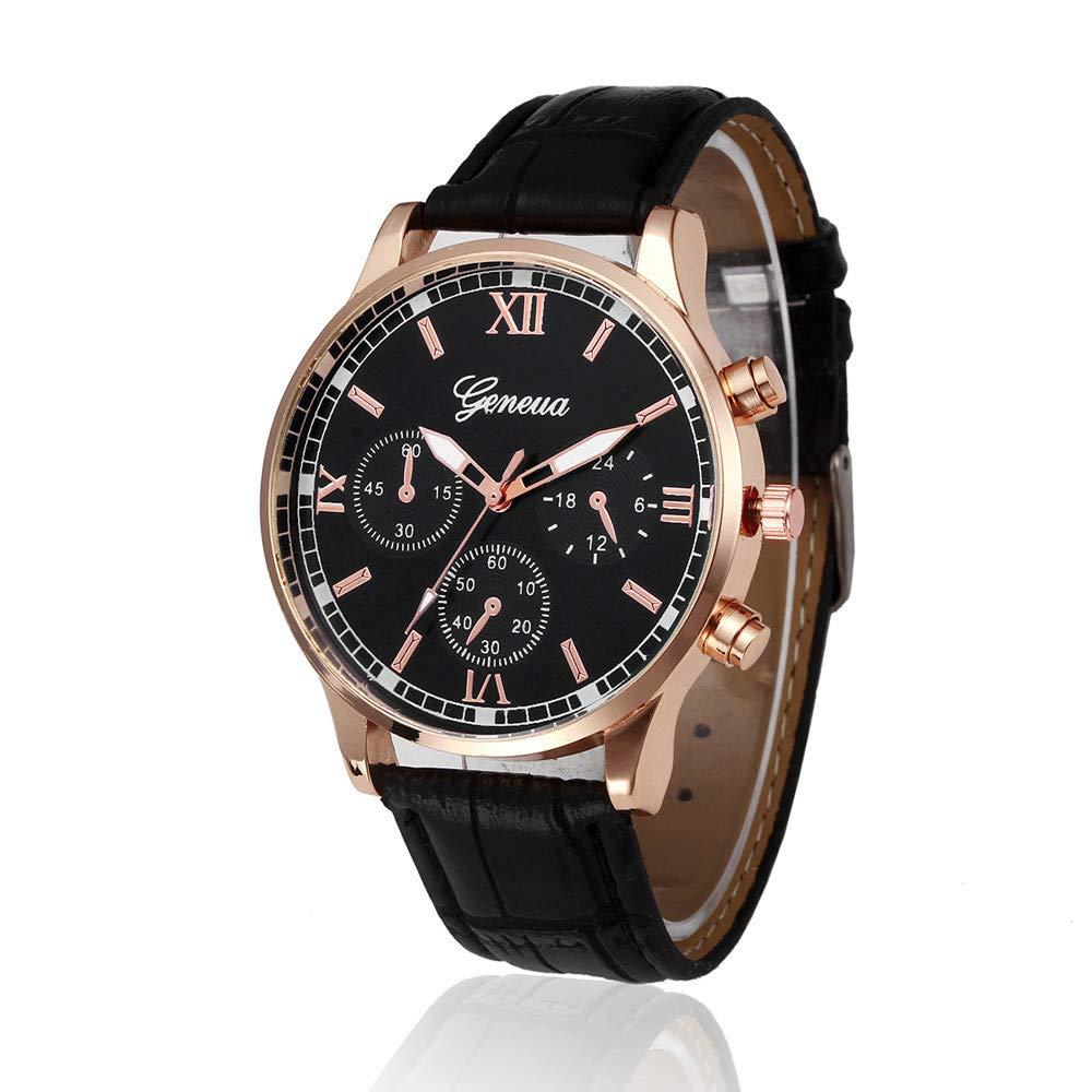 Mnyycxen Quartz Watch for Men, Wrist Watch with Classic Brown Leather and Japanese Quartz Movement for Boys Men Business (Black)