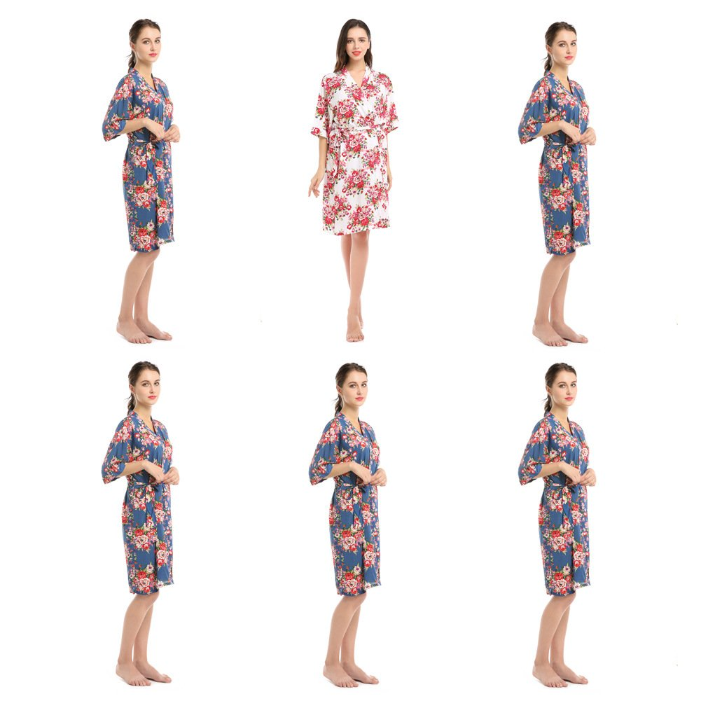 YueQiW Set Of 6 Women's Rayon Cotton Short Floral Wedding Nightgown - Bridesmaids Dressing Robe