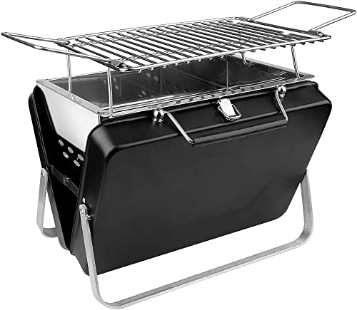 SEAAN Portable Folding Charcoal Barbecue Grill Stainless Steel Outdoor BBQ Kabab Grill for Outdoor Camping Picnic Patio Backyard, Cooking Area 6.3 Length x 7 Wide