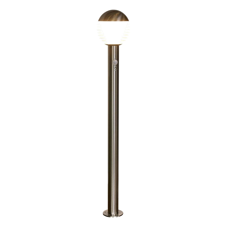 Lampenwelt LED AußenleuchteRuben mit Bewegungsmelder (spritzwassergeschützt) (Modern) in Alu aus Edelstahl (1 flammig, A+, inkl. Leuchtmittel) | Wegeleuchte, Pollerleuchte, Wegelampe, Sockelleuchte [Energieklasse A+]