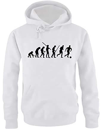 2d34b5bdcefa7 Coole-Fun-T-Shirts Pull à capuche Evolution Football pour homme Blanc blanc
