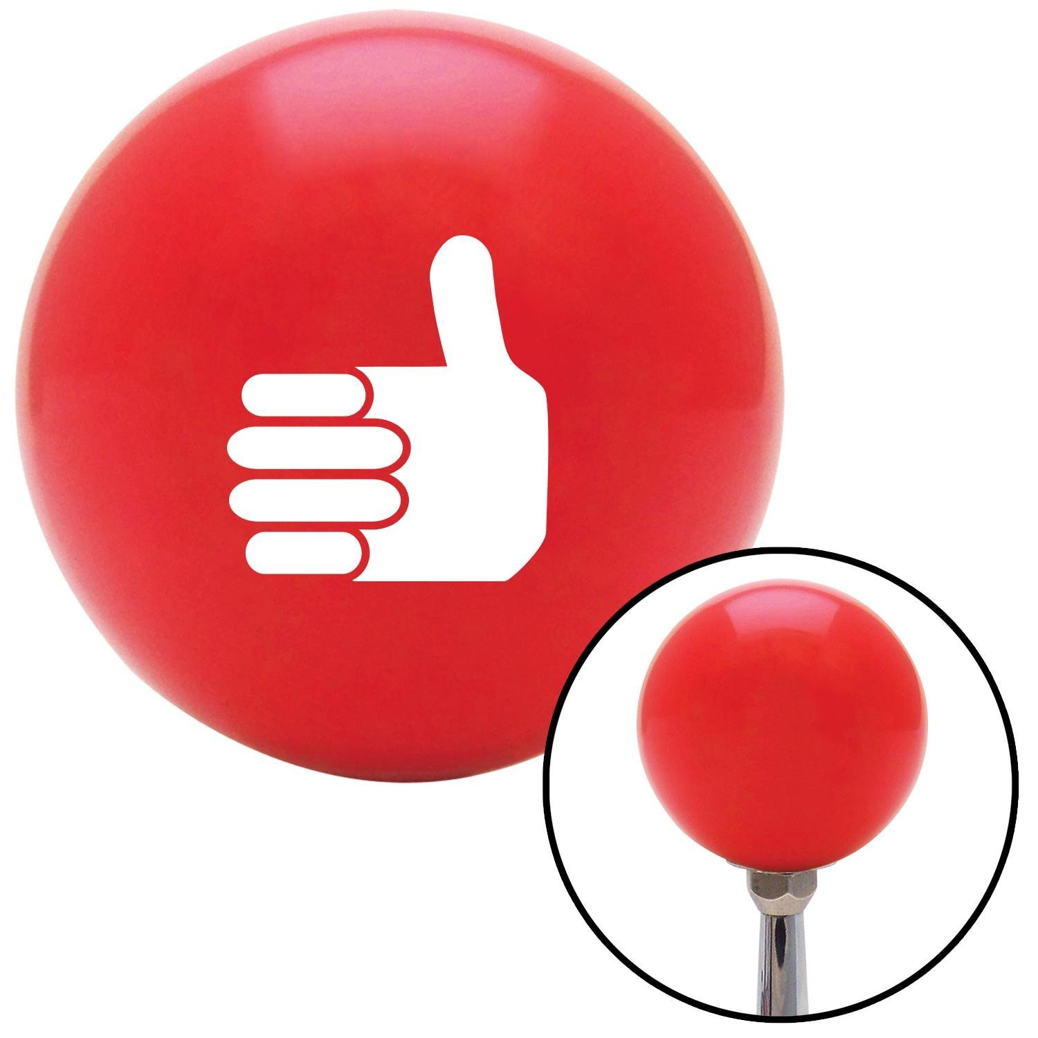American Shifter 95480 Red Shift Knob with M16 x 1.5 Insert White Thumbs Up