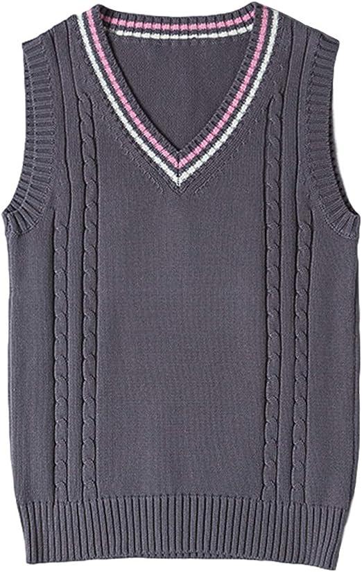 Gihuo Women's V Neck JK Uniform Sleeveless School Sweater Vest