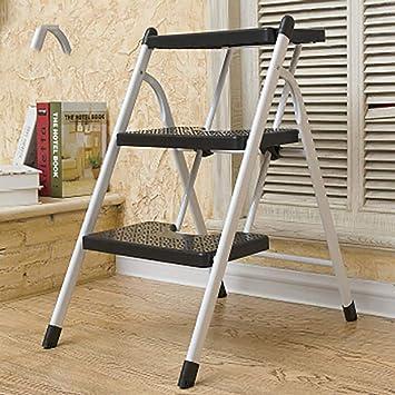 2 3 Paso Plegables Escalera,paso Taburete Compct Anti-slip Portátil Escalera Casa Escalera Multifunción El Hierro Escalera Para La Cocina Oficina-negro3: Amazon.es: Bricolaje y herramientas
