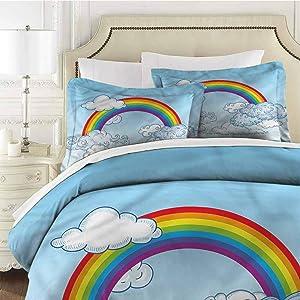 Kids Queen Size Sheet Set-3 Piece Set,Comforter Set Bed Comforter Bedding Set Rainbow Sky Playroom Childish Easy Care Bedding Cover Washed Microfiber