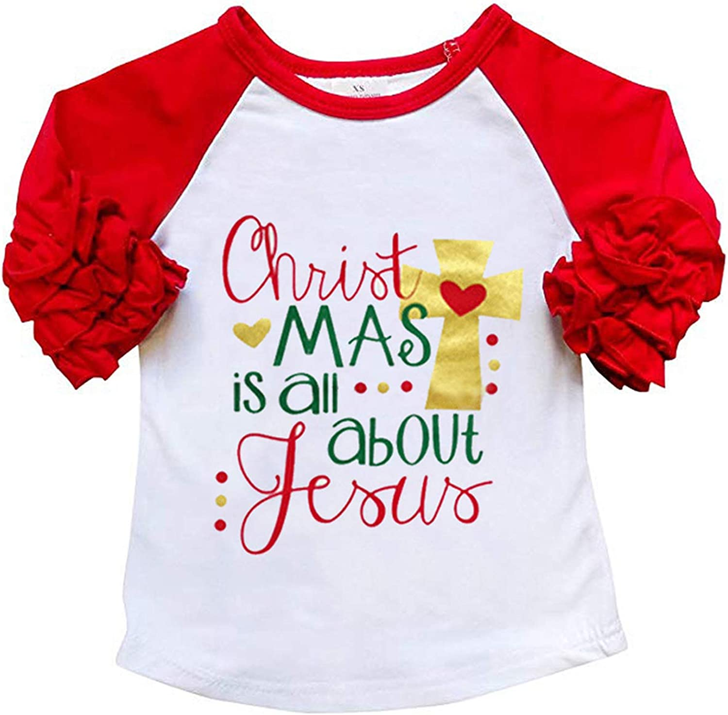 MAMOWEAR Baby Kids Girls Christmas Blouse Ruffles Long Sleeve T-Shirt Tops Clothes
