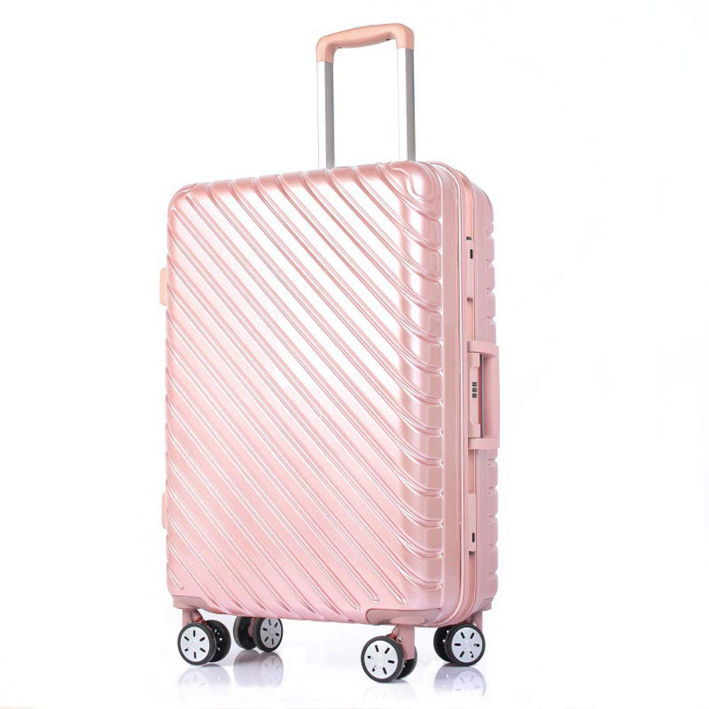 トロリーユニバーサルホイールアルミフレームスーツケース24人の男性と女性搭乗パスワードボックス荷物スーツケースハードボックス (Color : ローズゴールド, Size : 24 inches)   B07R6PKKTJ