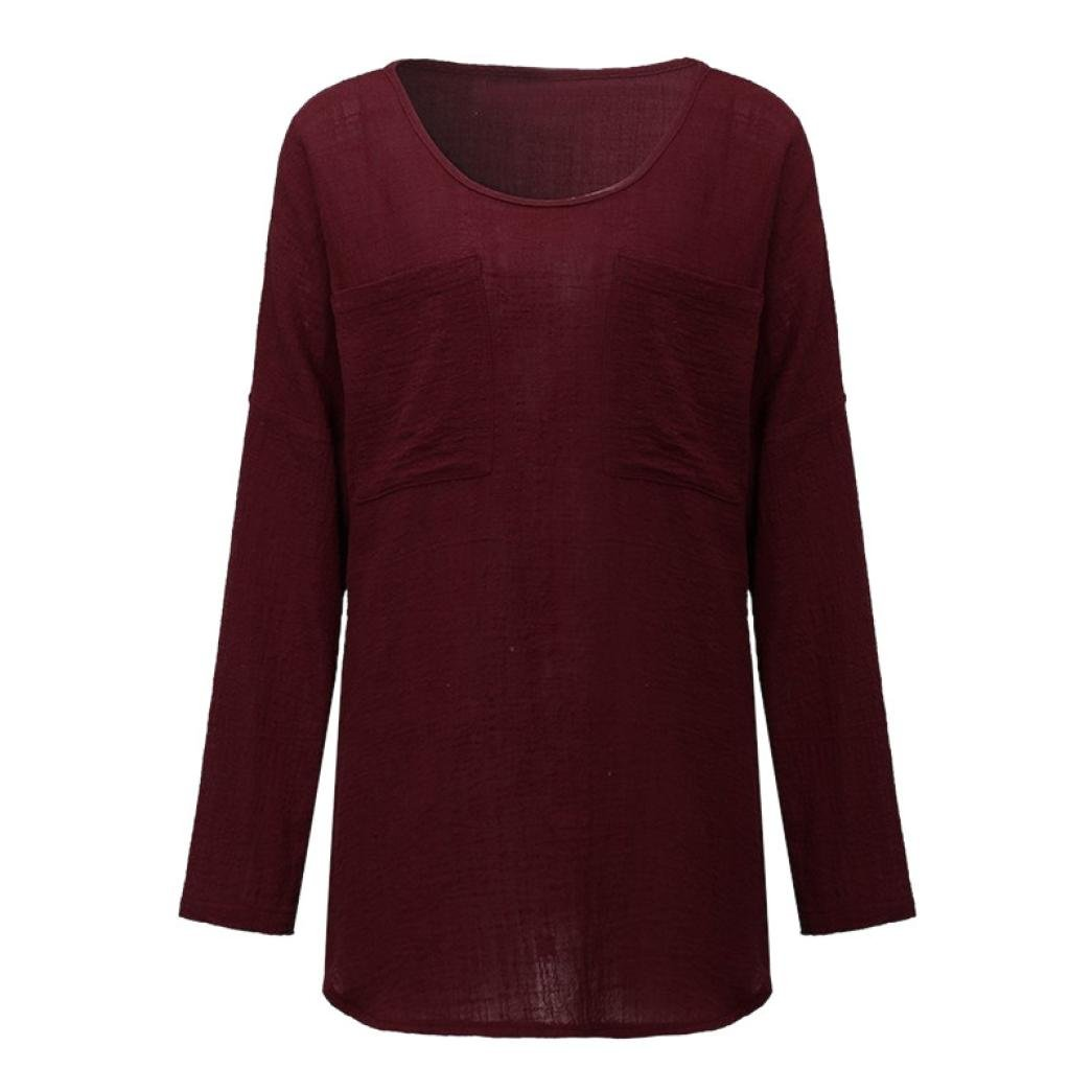 FORUU T Shirts for Women Cotton Linen Thin Section Loose Long Sleeve Blouse Pullover (M, Wine) by FORUU womens Tops & Tees (Image #2)