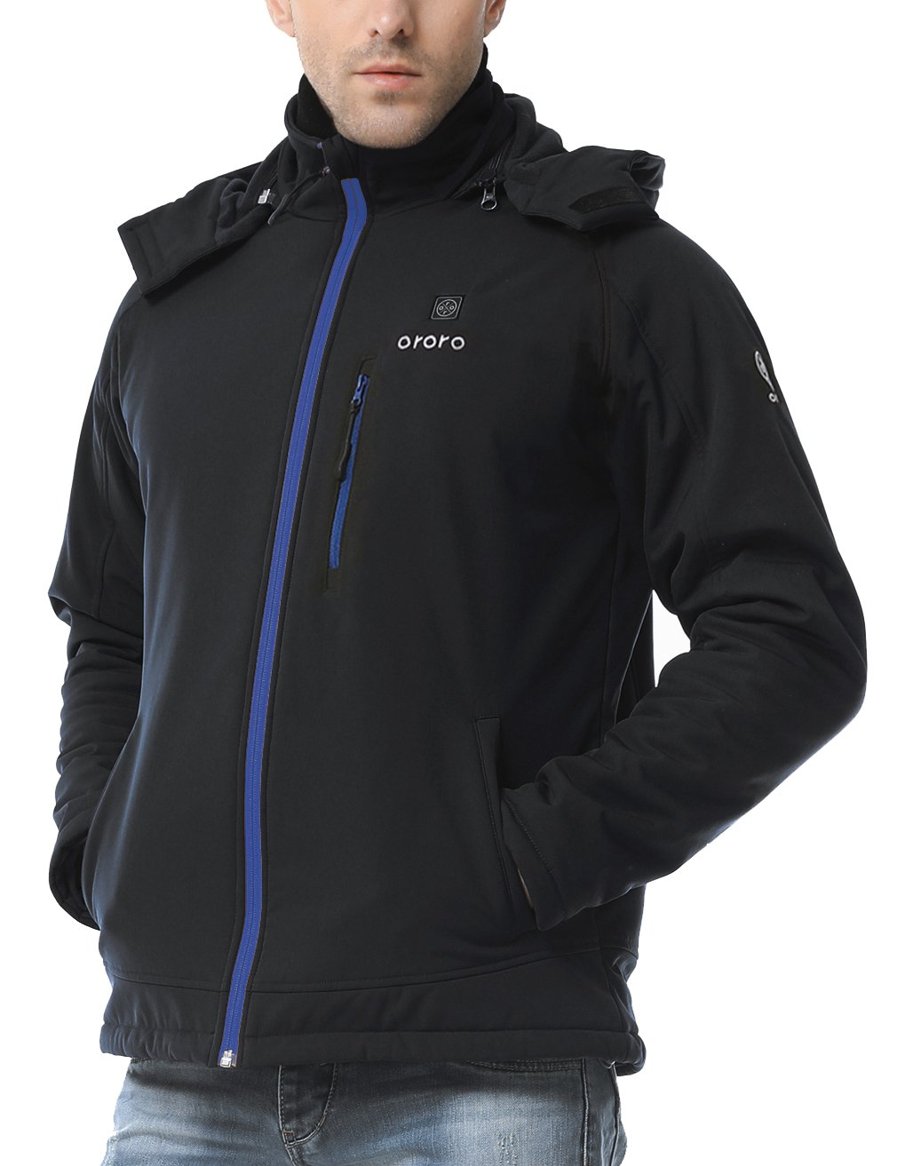 ororo Men's Soft Shell Heated Jacket Kit with Detachable Hood and Battery Pack (Blue,XL) by ororo