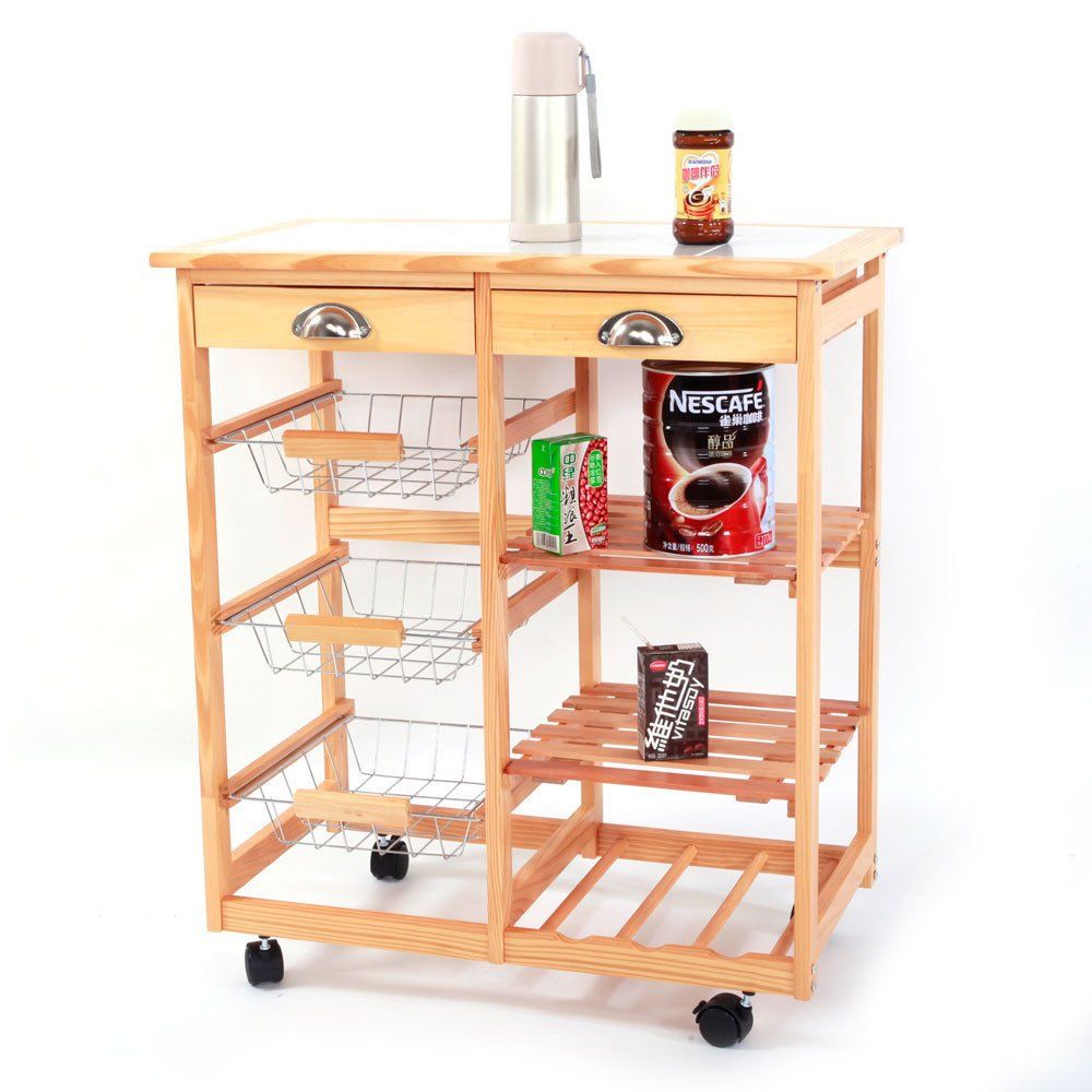 """GJH One Rolling Cabinet Kitchen Dining Storage Trolley Cart Drawers Wheels Wood 26.37""""x14.57""""x29.53"""""""