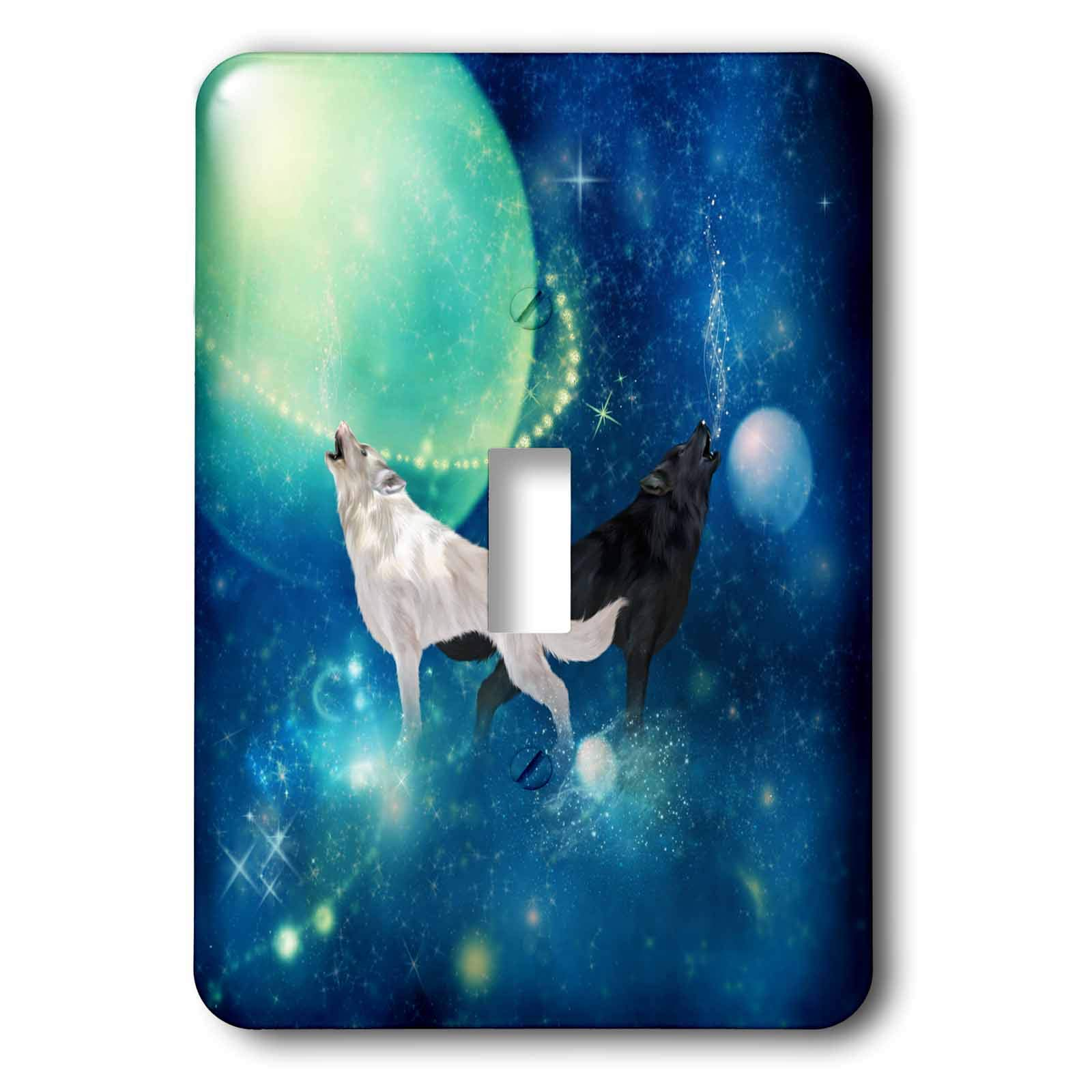 3dRose Heike Köhnen Design Animal - Black and white wolf in the universe - Light Switch Covers - single toggle switch (lsp_289163_1) by 3dRose