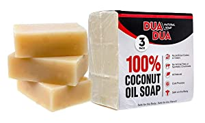Coconut Oil Bath & Body Soap Bar 100% Organic Natural for Fresh & Clean Skin Pack of 3 Bars