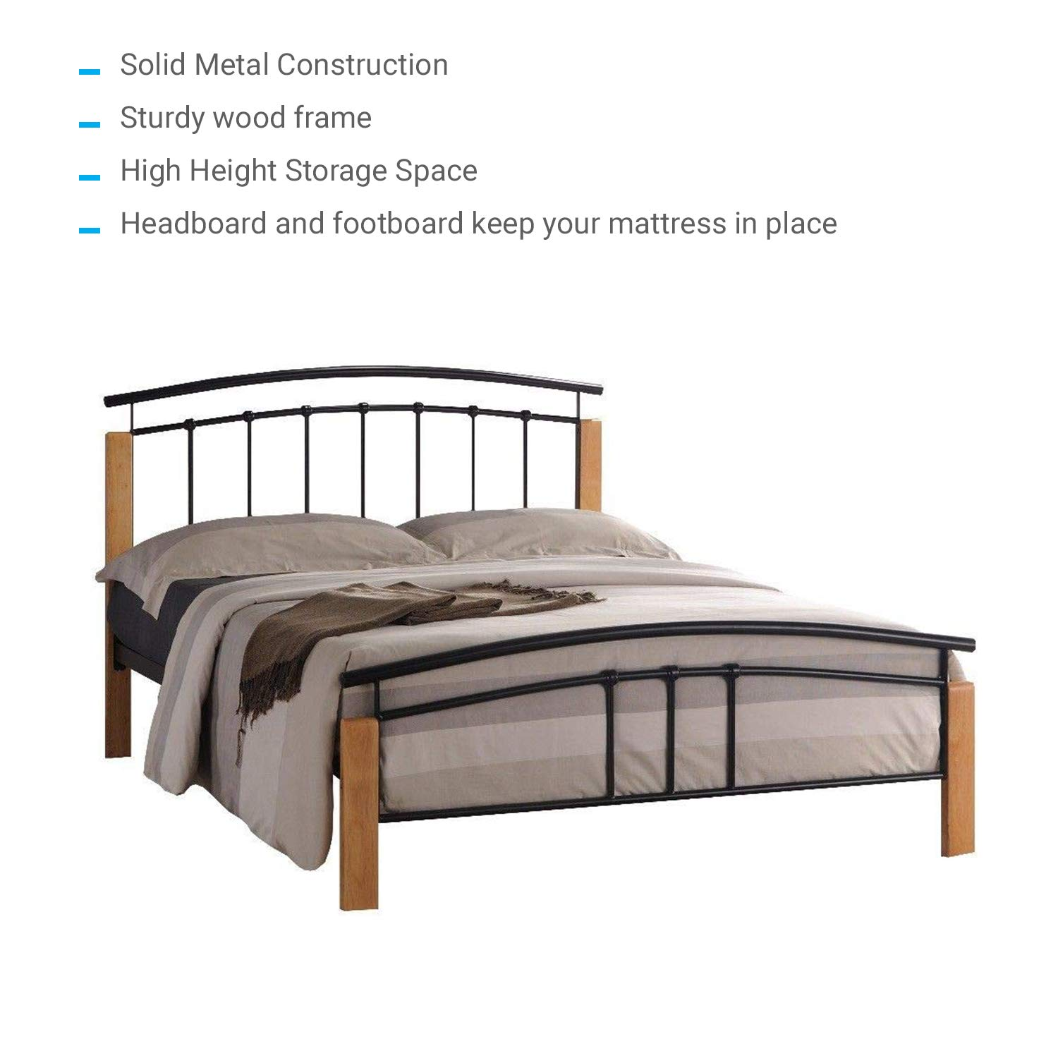 Stupendous Limitless Home Tetras Modern Beech Wooden And Premium Metal Bed With Under Bed Storage Space Headboard Footboard Slats Support Multiple Sizes Creativecarmelina Interior Chair Design Creativecarmelinacom