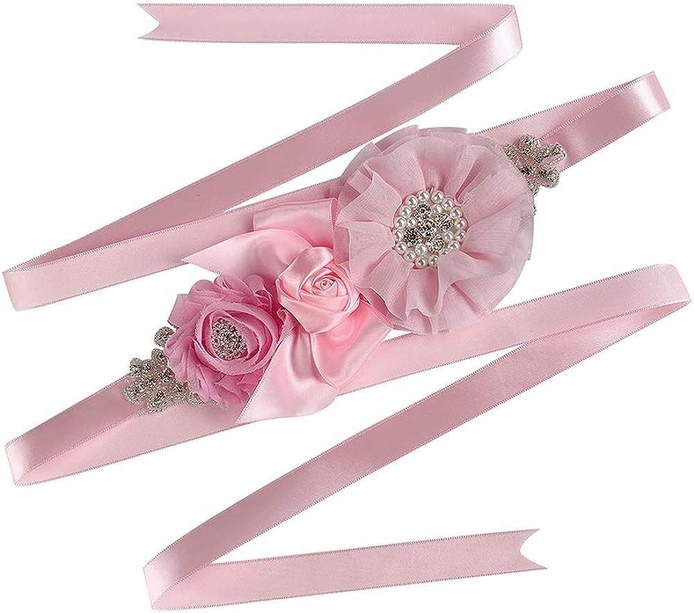 AIMANSHU Wedding Flower girl Sash Belt Bridal Dress Rhinestone Sash Bridesmaid Flowers Belts