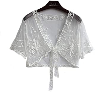 R.I.S Women's Short Sleeved Cropped Lace Mesh Bolero Shrug Waistcoat