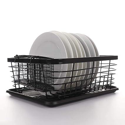 Escurreplatos de cocina, LouisaYork, bandeja plegable de acero inoxidable con bandeja para goteo, organizador de cubiertos de cocina, color negro