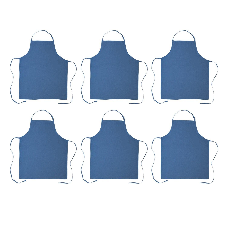 DII 100% Cotton, Commercial Bib Chef Apron, Restaurant, Bistro, Coffee shop, Bar Waitress Waiter Uniform, Durable, Easy Care, Adjustable Neck & Waist Ties,  Set of 6-Blue by DII