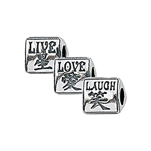 Zable Sterling Silver Live Love Laugh Chinese Symbols Bead Zable