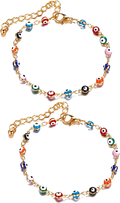 Dcfywl731 Blue Evil Eye Bracelet for Women,Gold Plated Handmade Adjustable Amulet Evil Eyes Bracelets