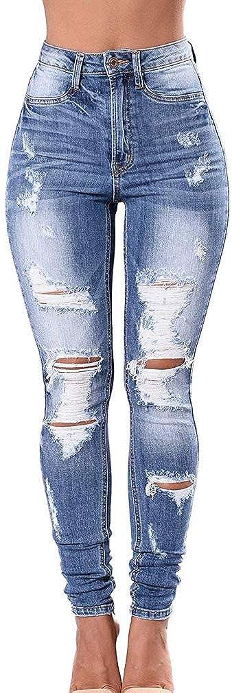 junkai Jeans Elasticizzati da Donna Jeans Strappati Strappati Strappati A Taglio Jeans Skinny Jeans Strappati Strappati Legging S-3XL
