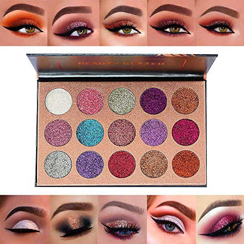 Beauty Glazed 15 Shades Eyeshadow Palette Shiny and Pigmented Mineral Pressed Powder Glitter Eyes Long Stay On Make Up Eye Shadow Shimmer (Perfect 10 Eye Palette)