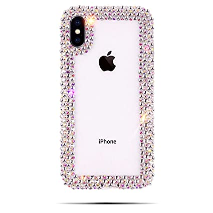 """【Caser Bay】 I Phone Case Luxury CrystalClear Hand Crafted Jeweled Bling Rhinestone Phone Case Cover【Clear, Compatible 6.5"""" I Phone Xs Max】 by Caser Bay"""