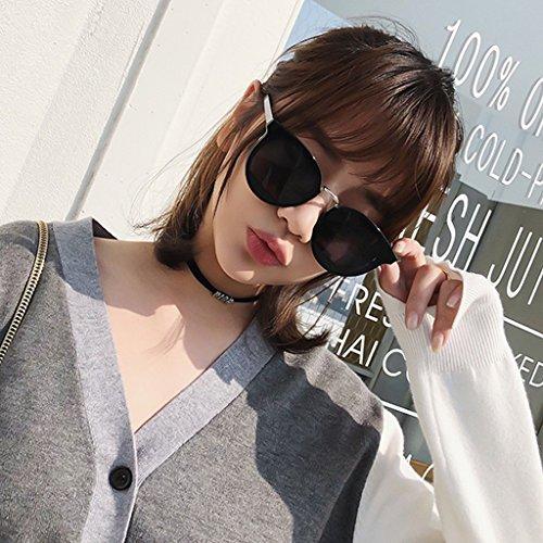 Lunettes Femmes Black Nouvelles Rétro Marée Lunettes YaNanHome de Soleil Marée Color Harajuku UV Protection Black de 8T6I4
