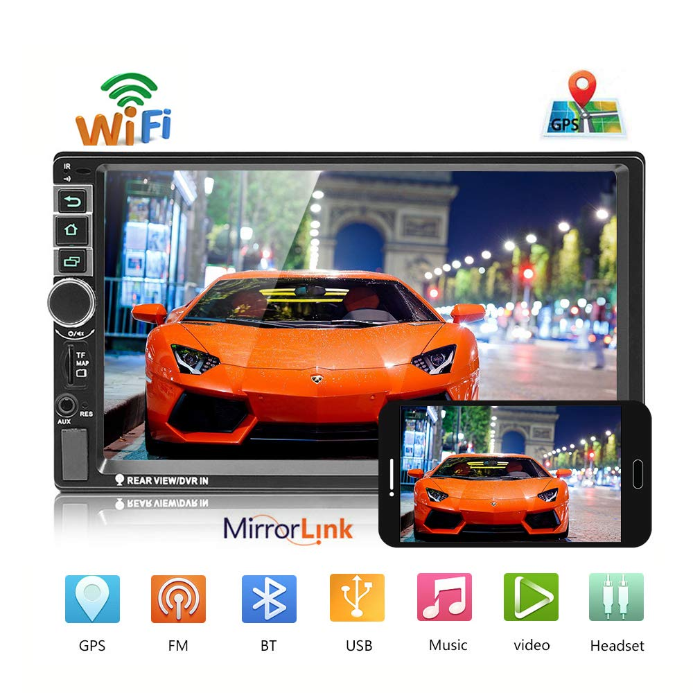 """podofo Car Stereo Android 8.0 Double Din Car Radio Sat Nav Bluetooth WIFI/TF card/U disk/AUX /GPS Android/IOS Mirror Link Steering Wheel Control 7"""" Inch Touch Screen Head Unit"""