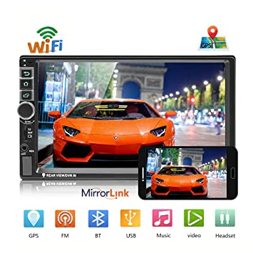 podofo - Radio para Coche estéreo Android 8.0 Doble DIN Azul Marino Bluetooth WiFi/TF