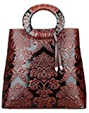 Pijushi Designer Ladies Leather Satchel Top handle Long Handbags Holiday Gift 6013 (Brown Flower)
