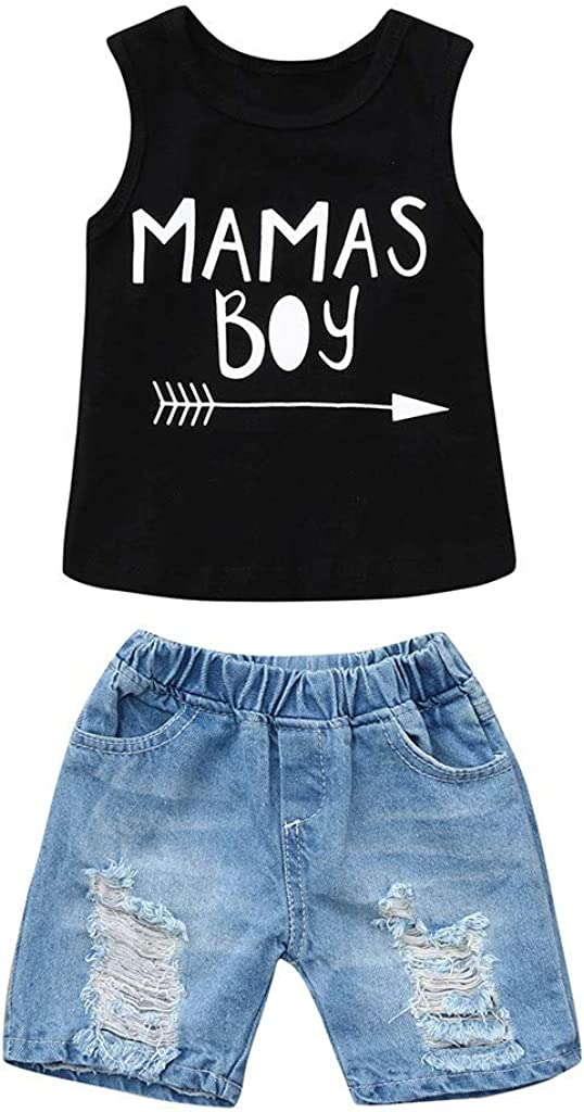 Toddler Kids Newborn Baby Boys Summer Clothes Set Letter Sleeveless Vest Tops+Denim Ripped Shorts 2Pcs Outfits