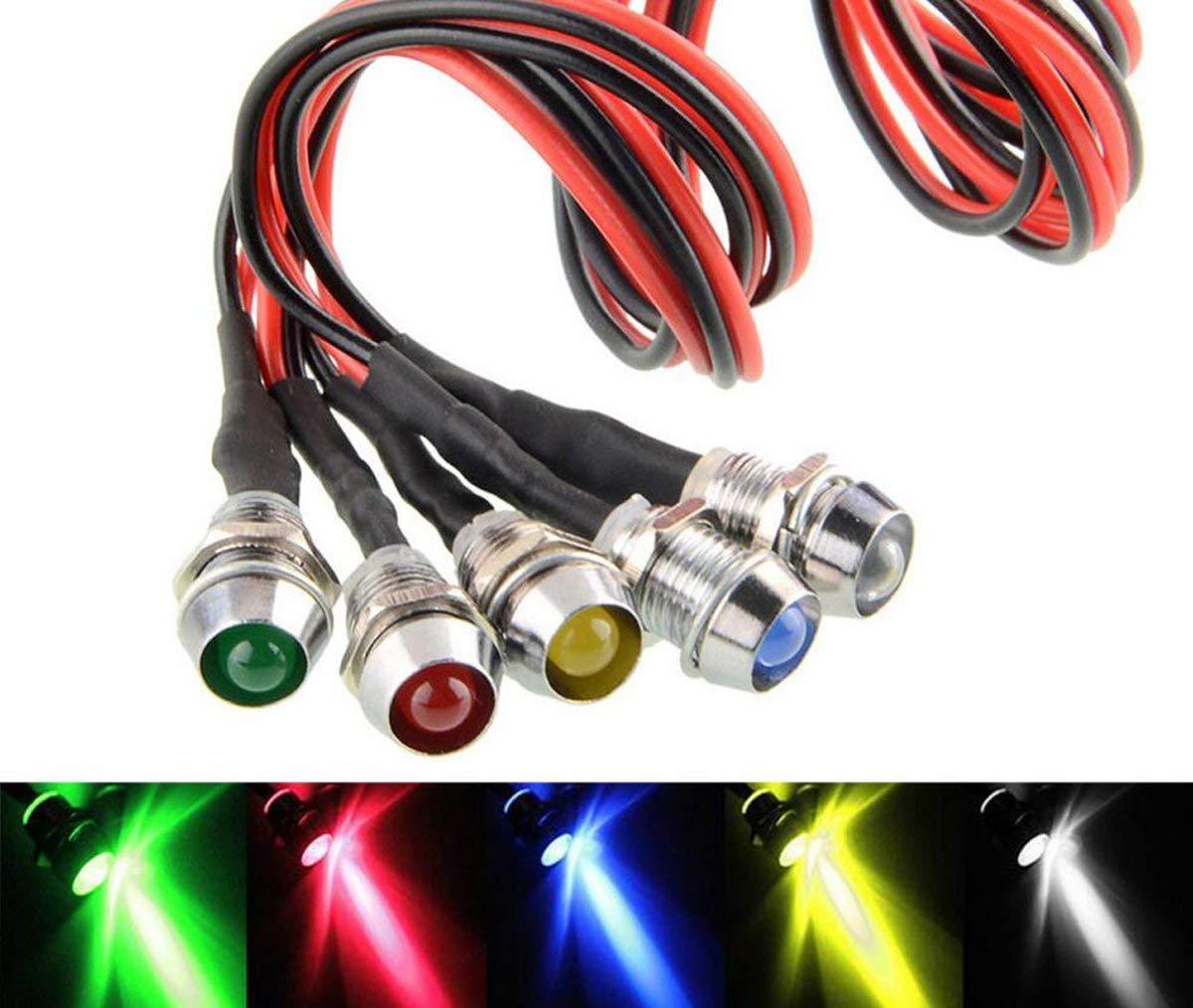 5 PCS LED Indicateur Ampoule 12V 8mm Feux de Signal Costume Voyant de Lampe LED pour Voiture Camion Bateau et Voiture de Contr/ôle de Voiture de Mod/èle