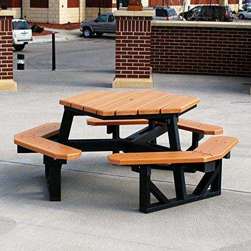 Frog Furnishings Hex Table, Cedar/Green/Gray
