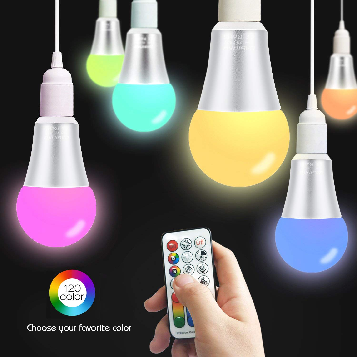 Colour Changing Light Bulb 10W B22 Edison Screw RGBW Lights,120 Color Choices,RGB+Warm White Coloured,Dual Memory,60 Watt Equivalent Remote Controller Included for Home Party Decoration,2-Pack