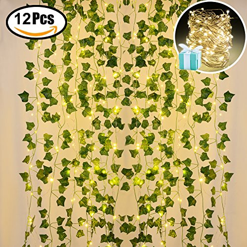 Lvydec Artificial Ivy Garland Fake Plants 84 Ft 12 Pack Hanging Vines Plant Leaves Garland with 60 LED String Light, Fake Greenery Decor for Home Kitchen Garden Office Wedding (Vine 12 Light)
