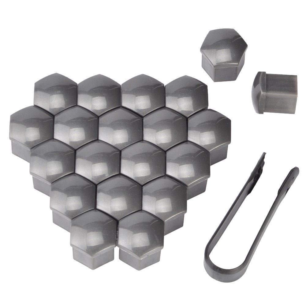 Vektenxi //20Pz Tappi a dado per bulloni esagonali per auto Coperchi Protezioni esagonali con strumento di rimozione Clip nera 19mm Grigio Conveniente e durevole