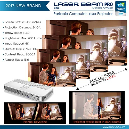 "Laser Beam Pro C200, FDA Assessed Class 1 Laser projector, Focus Fee 20-150"", HD 768P native resolution, 120 min rechargeable battery, compatible w/ HDMI support devices, built-in Internet, YouTube by Laser Beam Pro (Image #1)"
