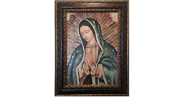 Virgin Mary Gold  Framed Art 28x36 The Virgin De Guadalupe, Embossed print
