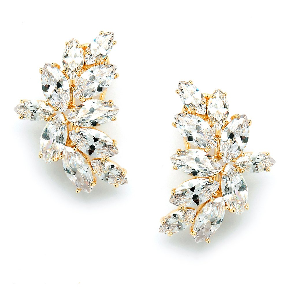 Mariell 14K Gold Plated CZ Clip Earrings with Marquis-Cut Clusters - Bridal, Wedding & Mother of Bride