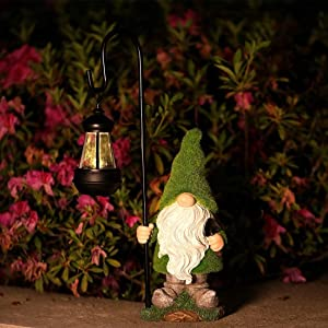 Flocked Garden Gnome Statue ,Gnome Figurines with Solar Powered Garden Lights for Fairy Garden Outdoor Patio Lawn Yard Decorations