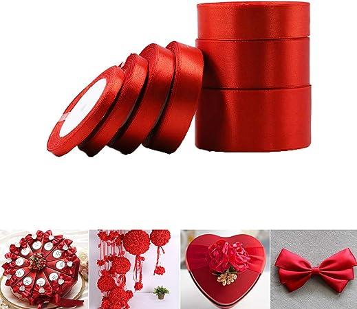 Raso Decorazione Bomboniere Matrimonio Laurea Natale San Valentino Rotolo Nastro Satin ROSSO H 50 mm X 25 Mt