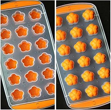 Bandeja de Cubitos Molde de Budín Chocolate Jalea Gelatina Herramientas de Hielo Congela Balón Flor Color Naranja: Amazon.es: Hogar