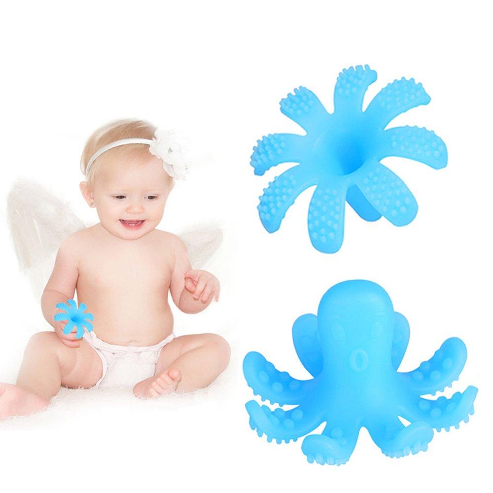 SOYAR® anneau dentition bebe - Poulpe Jouet de dentition et silicone 100% sans BPA. (Bleu) JS-006