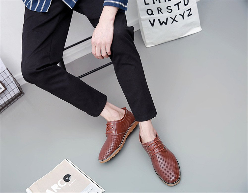 ChicWind Men's Breathable Leather Casual Shoes Lace up Oxfords Dress Shoes Brown by ChicWind (Image #7)