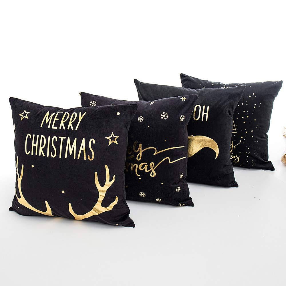 Fossrn Navidad Decoracion - 4PC/Conjunto Fundas Cojines 45x45 Merry Christmas Funda de Cojines para Sofa Jardin Cama Decorativo