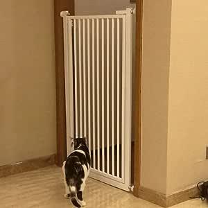 Puertas de bebé Puertas metálicas para Mascotas con Puerta de Acceso, Puertas Protectoras de Pared Blancas para el Protector de la Pared, Puerta para escaleras, 80-130 cm de Altura, fácil de Instalar: