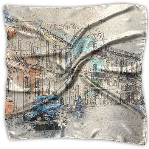 Silk Havana (Women Lady Cuba Oldtimer Havana Old Car Print Square Kerchief Scarf Head Wrap Neck Satin Shawl)